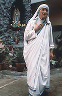 Calcutta, India. April 04, 1975.<br /> Mother Teresa inside her Kalighat Home for the Dying in Calcutta. The first Home for the Dying opened in 1952 and was a free hospice for the poor. Mother Teresa (Agnes Gonxha Boyaxihu) the Roman Catholic, Albanian nun revered as India's &quot;Saint of the Slums,&quot; was awarded the 1979 Nobel Peace Prize.