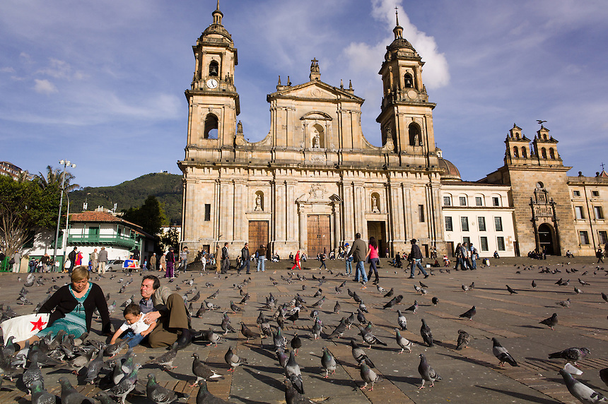Pigeons, protestors and parents all enjoy the Plaza Bolívar in Bogotá, Colombia, home of the city and national governments there.