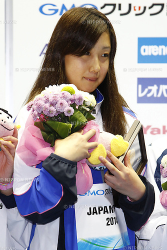 Chihiro Igarashi,<br /> APRIL 13, 2014 - Swimming : <br /> JAPAN SWIM 2014 <br /> Women's 1500m Freestyle Vicrotry ceremony<br /> at Tatsumi International Swimming Pool, Tokyo, Japan. <br /> (Photo by AFLO SPORT)
