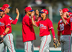 11 March 2016: Philadelphia Phillies infielder Emmanuel Burriss celebrates with teammates after a Spring Training pre-season game against the Atlanta Braves at Champion Stadium in the ESPN Wide World of Sports Complex in Kissimmee, Florida. The Phillies defeated the Braves 9-2 in Grapefruit League play. Mandatory Credit: Ed Wolfstein Photo *** RAW (NEF) Image File Available ***