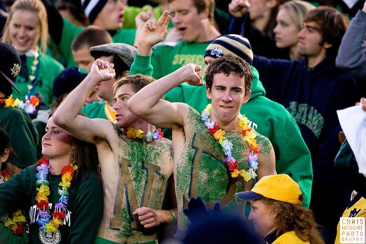10/17/09 - South Bend, IN:  Notre Dame fans cheer on their team during their game against USC at Notre Dame Stadium on Saturday.  USC won the game 34-27 to extend its win streak over Notre Dame to 8 games.  Photo by Christopher McGuire.