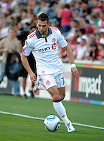Toronto midfielder Peri Marosevic (70) dribbles the ball down the field.  The Chicago Fire defeated Toronto FC 2-0 at Toyota Park in Bridgeview, IL on August 21, 2011.