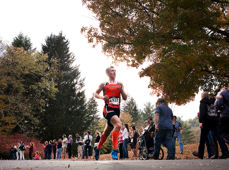 Watertown, CT- 22 October 2015-102215CM06-  Terryville's Connor Levins makes his way through Black Rock State Park during the Berkshire League XC championships  on Thursday.  Northwestern's Peter Bakker was the boys first place finisher.     Christopher Massa Republican-American