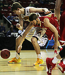 Iowa's Adam Woodbury (34)  Davidson goes for a loose ball against Davidson's Tyler Kalinoski (4) during the 2015 NCAA Division I Men's Basketball Championship's March 20, 2015 at the Key Arena in Seattle, Washington.  Iowa beat Davidson 83-52.    ©2015. Jim Bryant Photo. ALL RIGHTS RESERVED.