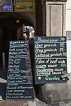 Two chalkboard menus showing traditional Czech food and drinks offered at a restaurant in Old Town Square, Prague, Czech Republic, Europe