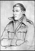 BNPS.co.uk (01202 558833)<br /> Pic: Pen&amp;Sword/BNPS<br /> <br /> A drawing of Colin Hodgkinson completed in 1943 by the artist Sir William Rothenstein.<br /> <br /> he remarkable story of a British hero double amputee pilot who took to the skies during the Second World War has come to light.<br /> <br /> Flight Lieutenant Colin Hodgkinson lost his legs in a horror crash in a Tiger Moth in May 1939 but went on to emulate Sir Douglas Bader and fly Spitfires in the Royal Air Force.<br /> <br /> He even endured a spell in the Great Escape prisoner of war camp after being shot down over France in 1943 but rejoined the RAF after being repatriated.<br /> <br /> The pair were the only two British double amputee pilots to fly during the war - yet while Bader, rightly, is a household name, Flt Lt Hodgkinson's exploits have been largely forgotten.<br /> <br /> This has prompted historian Mark Hillier to publish Flt Lt Hodgkinson's autobiography 60 years after it was penned which he hopes will shine some limelight on a 'special' man whose courage he says was every bit as great as Baders'.<br /> <br /> Best Foot Forward, by Colin Hodgkinson, is published by Pen &amp; Sword.