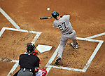 17 June 2012: New York Yankees outfielder Raul Ibanez in action against the Washington Nationals at Nationals Park in Washington, DC. The Yankees defeated the Nationals 4-1 to sweep their 3-game series. Mandatory Credit: Ed Wolfstein Photo