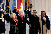 Washington, DC - January 18, 2009 -- Jill Biden, Vice President-elect Joe Biden, President-elect Barack Obama, and Michelle Obama wave to the crowd gathered at the Lincoln Memorial on the National Mall in Washington, D.C.,Sunday, January 18, 2009, during the inaugural opening ceremonies.  More than 5,000 men and women in uniform are providing military ceremonial support to the presidential inauguration, a tradition dating back to George Washington's 1789 inauguration.  .Credit: George Trian - DoD via CNP.