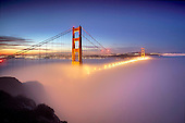 Layer of low fog and the Golden Gate Bridge, San Francisco, California, USA