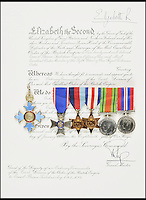 BNPS.co.uk (01202 558833)<br /> Pic DominicWinter/BNPS<br /> <br /> ***Please use full byline***<br /> <br /> Trubshaw's medals. <br /> <br /> The supersonic archive amassed by legendary Concorde test pilot Brian Trubshaw during his flying career is being sold by his family.<br /> <br /> The collection made by the late airman who was the first to fly the famous turbo-jet in Britain in 1969, includes all his log books covering his 30 years service.<br /> <br /> He went on to put Concorde through its paces, criss-crossing the globe at twice the speed of sound before the plane entered commercial service six years later.<br /> <br /> The archive is being sold by Dominic Winter Auctioneers, Glocs. on November 7th.