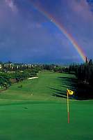 Rainbow over Kapalua Bay Golf Course. The first of three championship golf courses in Kapalua. Designed by Arnold Palmer and Francis Duane it is a 6,600-yard par 72.