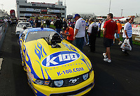 Sept. 30, 2012; Madison, IL, USA: Fans check out the car of NHRA pro mod driver Mike Janis during the Midwest Nationals at Gateway Motorsports Park. Mandatory Credit: Mark J. Rebilas-
