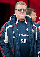 22 October 2011: New England Revolution head coach Steve Nicol during the national anthems in a game between the New England Revolution and Toronto FC at BMO Field in Toronto..The game ended in a 2-2 draw.