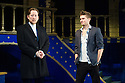 London, UK. 12.12.2014. THE MERCHANT OF VENICE, by William Shakespeare, opens at the Almeida Theatre. Directed by Rupert Goold, with lighting design by Rick Fisher, and costume and set design by Tom Scutt. Picture shows: Scott Handy (Antonio)  and Tom Weston-Jones (Bassanio).Photograph © Jane Hobson.