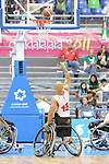 November 18 2011 - Guadalajara, Mexico:  David Eng of Team Canada takes a free throw in the CODE Alcalde Sports Complex at the 2011 Parapan American Games in Guadalajara, Mexico.  Photos: Matthew Murnaghan/Canadian Paralympic Committee