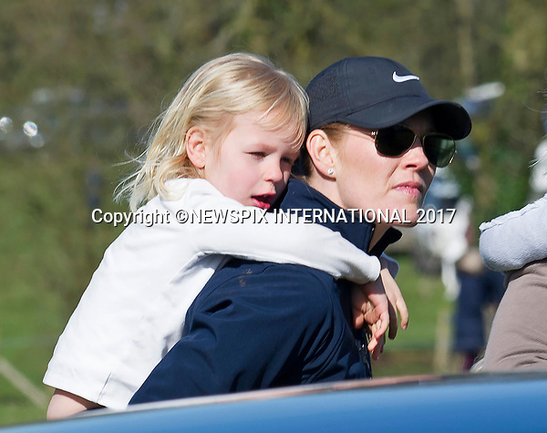 25.03.2017; Gatcombe, UK: ISLA PHILLIPS GETS A PIGGY-BACK FROM MUM AUTUMN<br /> at the Gatcombe Horse Trials.<br /> Isla celebrates her 5th birthday on 29th March 2017.<br /> The 2-day horse trials are held on Princess Anne&rsquo;s estate in Minchinhampton, Gloucestershire<br /> Mandatory Photo Credit: &copy;Francis Dias/NEWSPIX INTERNATIONAL<br /> <br /> IMMEDIATE CONFIRMATION OF USAGE REQUIRED:<br /> Newspix International, 31 Chinnery Hill, Bishop's Stortford, ENGLAND CM23 3PS<br /> Tel:+441279 324672  ; Fax: +441279656877<br /> Mobile:  07775681153<br /> e-mail: info@newspixinternational.co.uk<br /> Usage Implies Acceptance of OUr Terms &amp; Conditions<br /> Please refer to usage terms. All Fees Payable To Newspix International