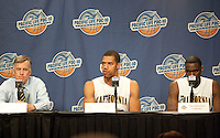 Mike Montgomery, Jamal Boykin and Theo Robertson during the press conference. The Washington Huskies defeated the California Golden Bears 79-75 during the championship game of the Pacific Life Pac-10 Conference Tournament at Staples Center in Los Angeles, California on March 13th, 2010.