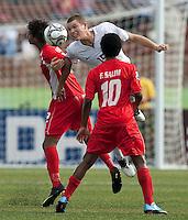 Eriq Zavaleta heads the ball. US Under-17 Men's National Team defeated United Arab Emirates 1-0 at Gateway International  Stadium in Ijebu-Ode, Nigeria on November 1, 2009.