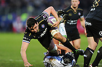 Elliott Stooke of Bath Rugby takes on the Pau defence. European Rugby Challenge Cup match, between Bath Rugby and Pau (Section Paloise) on January 21, 2017 at the Recreation Ground in Bath, England. Photo by: Patrick Khachfe / Onside Images
