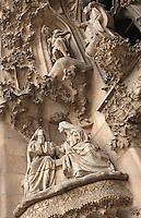 The Virgin visiting her cousin Elisabeth; Jesus proclaiming himself son of God, Faith hallway, Nativity façade, La Sagrada Familia, Barcelona, Catalonia, Spain, Roman Catholic basilica, built by Antoni Gaudí (Reus 1852 ? Barcelona 1926) from 1883 to his death. Still incomplete. Picture by Manuel Cohen