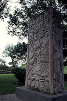 Replica of a Mayan stela at the ruins of San Andres in El Salvador, Central America