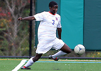 HYATTSVILLE, MD - OCTOBER 26, 2012:  William Kerr (3) of DeMatha Catholic High School pulls in a cross against St. Albans during a match at Heurich Field in Hyattsville, MD. on October 26. DeMatha won 2-0.
