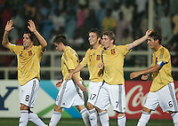 Spain Celebrates. Spain defeated the U.S. Under-17 Men National Team  2-1 at Sani Abacha Stadium in Kano, Nigeria on October 26, 2009.