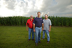 (Left to Right)Phil Tate, Steve and Tim Reinhard on their farm in Bucyrus, Ohio..The Reinhard Farm in Bucyrus, Ohio.