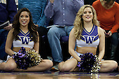 March 6, 2013:  Washington cheerleader Hannah Tripp entertained fans during a time out against USC.  Washington defeated USC 65-57 at Alaska Airlines Arena Seattle, Washington...