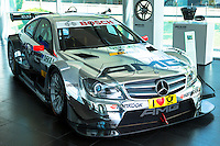 DTM Mercedes-AMG C-Coupe 2013 race car on display in showroom at engine factory in Affalterbach, Germany