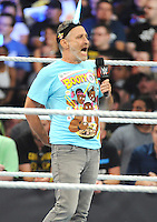"NEW YORK, NY - August 21 : Jon Stewart was a special guest at WWE SummerSlam 2016 at the Barclays Center and joined ""New Day"" members Kofi Kingston, Easy E and Xavier Woods in the ring on August 21 , 2016 at the Barclays Center in Brooklyn, New York.  Photo Credit: John Palmer/ MediaPunch"