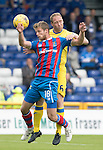 Inverness Caley Thistle v St Johnstone&hellip;27.08.16..  Tulloch Stadium  SPFL<br />Steven Anderson clears from Alex Fisher<br />Picture by Graeme Hart.<br />Copyright Perthshire Picture Agency<br />Tel: 01738 623350  Mobile: 07990 594431