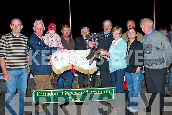 TOP DOG: Owner of the winner of the Lee Strand Paddy O'Sullivan Spring Twilight Race Of Champions Pat Collins being presented with trophy by Mike Moyihan and Bill Kenndey CEO of Lee Strand at the Lee Strand evening of racing at the Kingdom Greyhound Stadium on Friday night l-r: Padraig, Paddy and Abbie Collins, Keiran O'Dwyer, Mike Moyihan (Lee Strand), Bill Kennedy (CEO), Noreen and Cathrine Collins, Brendan Walsh and Donnie Mulivhill.   Copyright Kerry's Eye 2008