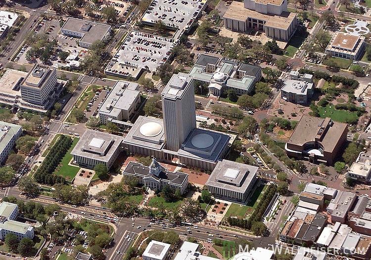 Aerial of the Florida State Capitol building and downtown Tallahassee, Florida.    (Mark Wallheiser/TallahasseeStock.com)