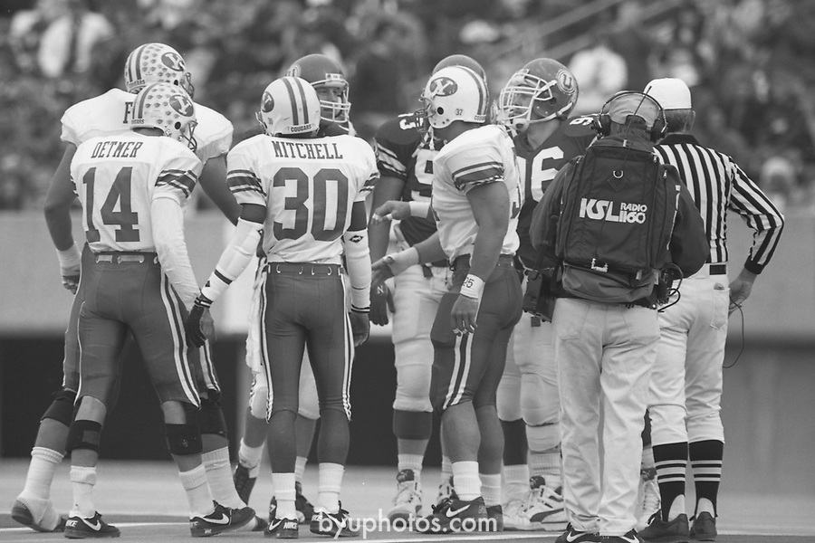 1311 A 40<br /> <br /> FTB 1311 A-K<br /> <br /> Nov 17,1990<br /> <br /> Football - BYU at Utah<br /> <br /> Mark Philbrick<br /> <br /> BYU Photo 2017<br /> All Rights Reserved<br /> photo@byu.edu <br /> (801) 422-7322