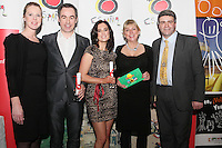 """NO REPRO FEE. 30/1/2011. Travel Extra Travel Journalist of the Year Awards Announced In Dublin. Television Travel Extra Journalist of the Year winners are Jon Slattery and Ciara Whelan (leopard print dress) (TV3) with award sponsors Fiona Bolger (PEARLS) of Sunway and Meriethe Jenssen Yaiza of Hotel Lanzarote and Eoghan Corry, Editor of Travel Extra. The Travel Extra Journalist of the Year Awards ceremony is an annual event which is attended by the cream of Irish travel and tourism writers, and broadcasters. Travel writer Philip Nolan of the Irish Mail was presented with the overall Travel Extra Journalist of the Year Award for a series of articles throughout 2010. Eoghan Corry, Editor of Travel Extra said, """"This year saw a huge increase in the number of submissions from previous years, displaying the creativity and continuing innovation of travel and tourism journalism in Ireland."""" The event coincides each year the Holiday World Show Dublin which was attended by over 50,000 visitors this weekend.Picture Collins Photos"""