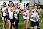 Mountain View running in a pack (L to R) Jared Capell, Nathan Henrie, Tim Ankeman, Andy Epperson, and Devon Selleck during NNU Invite junior varisty race at West Park in Nampa, ID on September 11, 2010.