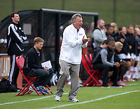 Duke head coach Robbie Church yells to his team at Ludwig Field on the campus of the University of Maryland in College Park, MD. DC. Duke defeated Maryland, 2-1.