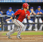 5 March 2012: Washington Nationals outfielder Bryce Harper singles during a Spring Training game against the New York Mets at Digital Domain Park in Port St. Lucie, Florida. The Nationals defeated the Mets 3-1 in Grapefruit League play. Mandatory Credit: Ed Wolfstein Photo