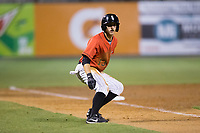 Jameson Fisher (13) of the Kannapolis Intimidators takes his lead off of third base against the Lakewood BlueClaws at Kannapolis Intimidators Stadium on April 8, 2017 in Kannapolis, North Carolina.  The BlueClaws defeated the Intimidators 8-4 in 10 innings.  (Brian Westerholt/Four Seam Images)