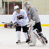 Kenny Ryan (US - 23), Jack Campbell (US - 1) - Team USA practiced on Thursday, August 13, 2009, in the USA (NHL-sized) Rink in Lake Placid, New York, during the 2009 USA Hockey National Junior Evaluation Camp.
