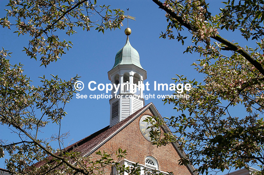 Home Moravian Church. Old Salem, North Carolina, USA - Although the Moravians had a presence in North Carolina from the 1750s the first buildings in Old Salem were commenced in 1766. The Moravians were religeous refugees from Bohemia in Europe. Bohemia is now part of the present Czech Republic. Since 1950 the town has been preserved to retain its character and old buildings were restored. Ref: 200304230088...Copyright Image from Victor Patterson, 54 Dorchester Park, Belfast, UK, BT9 6RJ..Tel: +44 28 9066 1296.Mob: +44 7802 353836.Voicemail +44 20 8816 7153.Skype: victorpattersonbelfast.Email: victorpatterson@mac.com.Email: victorpatterson@ireland.com (back-up)..IMPORTANT: If you wish to use this image or any other of my images please go to www.victorpatterson.com and click on the Terms & Conditions. Then contact me by email or phone with the reference number(s) of the image(s) concerned.