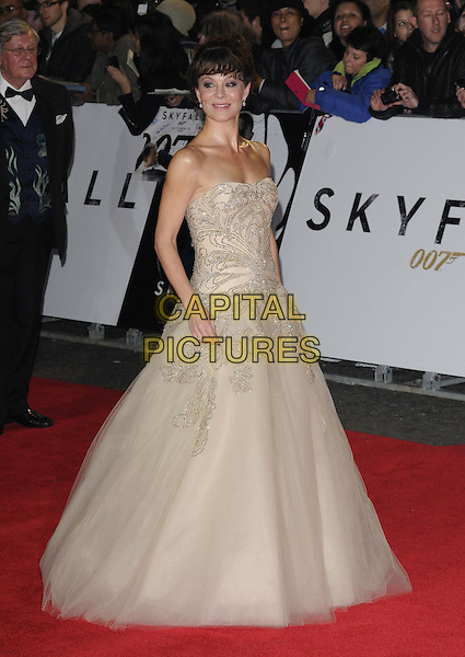 Helen McCrory.'Skyfall' Royal World Film Premiere, Royal Albert Hall, Kensington Gore, London, England..23rd October 2012.full length gold strapless beige nude gown dress tulle strapless beads beaded.CAP/CAN.©Can Nguyen/Capital Pictures.