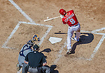 27 April 2014: Washington Nationals second baseman Danny Espinosa at bat against the San Diego Padres at Nationals Park in Washington, DC. The Padres defeated the Nationals 4-2 to to split their 4-game series. Mandatory Credit: Ed Wolfstein Photo *** RAW (NEF) Image File Available ***