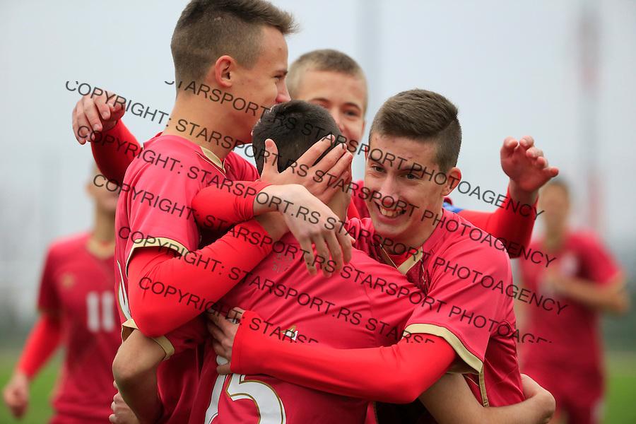 Fudbal soccer friendly match<br /> Srbija U17 v Madjarska U17<br /> Nikola Lakcevic (C) celebrate scoring a goal<br /> Stara Pazova, 08.12.2015.<br /> foto: Srdjan Stevanovic/Starsportphoto &copy;