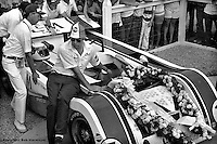 Jackie Stewart's 1971 Lola-Chevrolet Can-Am car is pushed into victory lane at the Mid-Ohio Sports Car Course, Lexington, Ohio, USA.