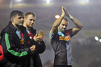 Ross Chisholm and other Harlequins players acknowledge the crowd after the match. Aviva Premiership match, between Harlequins and Leicester Tigers on February 19, 2016 at the Twickenham Stoop in London, England. Photo by: Patrick Khachfe / JMP
