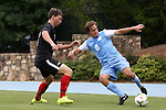 15 August 2014: North Carolina's Tyler Engel (8) and Gardner-Webb's Riley Shelton (left). The University of North Carolina Tar Heels hosted the Gardner-Webb University Bulldogs at Fetzer Field in Chapel Hill, NC in a 2014 NCAA Division I Men's Soccer preseason match. North Carolina won the exhibition 7-0.