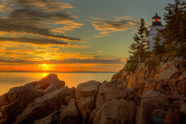 Bass Harbor Head Light overlooks the entrance to Bass Harbor and Blue Hill Bay just before sunset on an autumn evening.