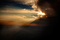 February 20, 2012 - A view from an airplane of a storm approaching Mexico City.